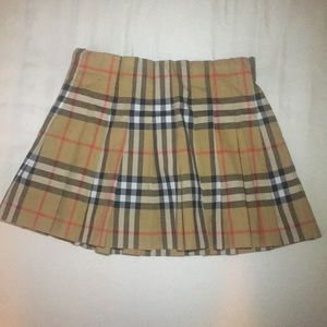 Burberry Pearl Pleated Vintage Check Skirt Girls